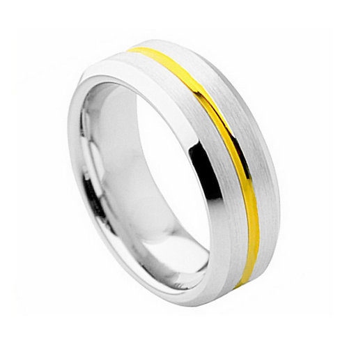 Cobalt Ring Yellow Gold Plated Grooved Center 8mm