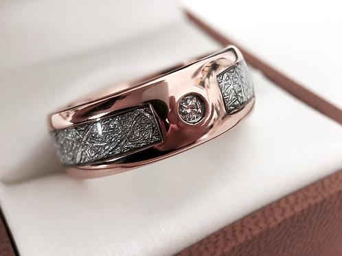 Rose Gold Meteorite Ring with White Diamond Stone Setting, Meteorite Ring, Rose Gold Ring