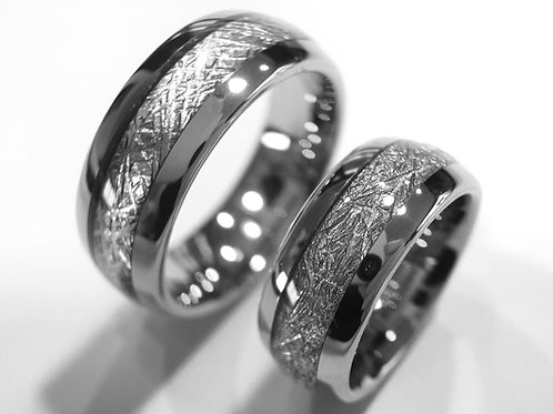 Matching Set of Meteorite Inlay Tungsten Ring, Wedding Band, Wedding Rings