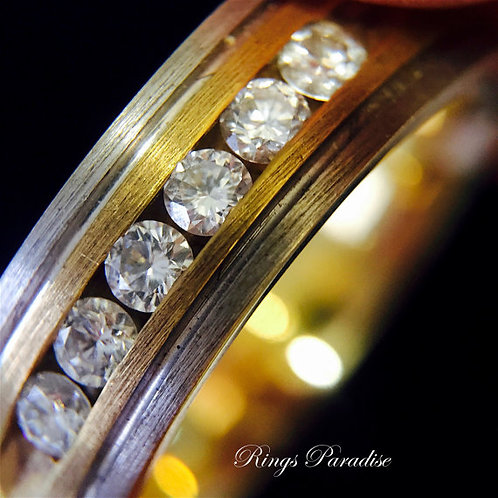 Men's Wedding Ring, 14k Gold Diamond Ring