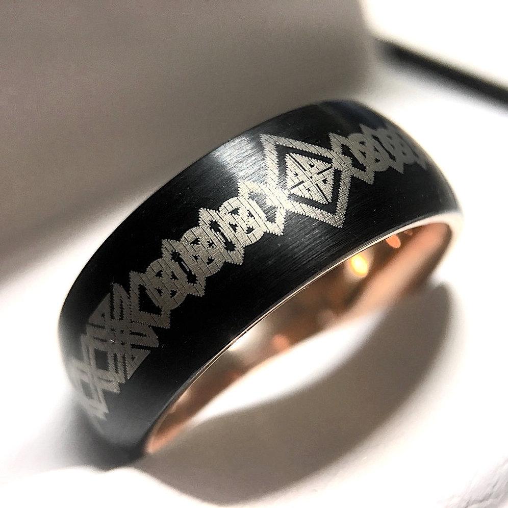 Black Celtic Ring, Black Rose GoldTungsten Wedding Band, Engagement Rings