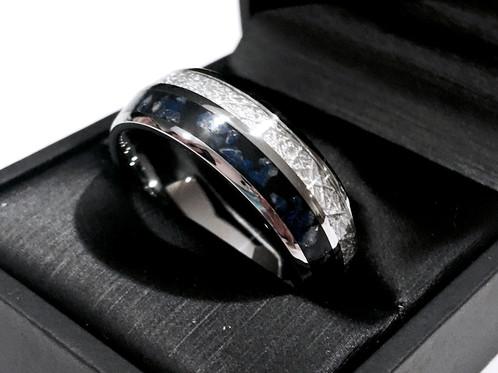Meteorite And Lapis Inlay Tungsten Wedding Band Wedding Ring