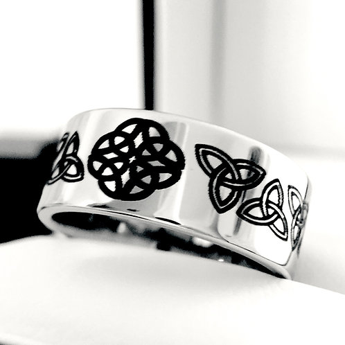Celtic Design Ring, Knot Ring, Tungsten Carbide Ring, Mens and Women Ring