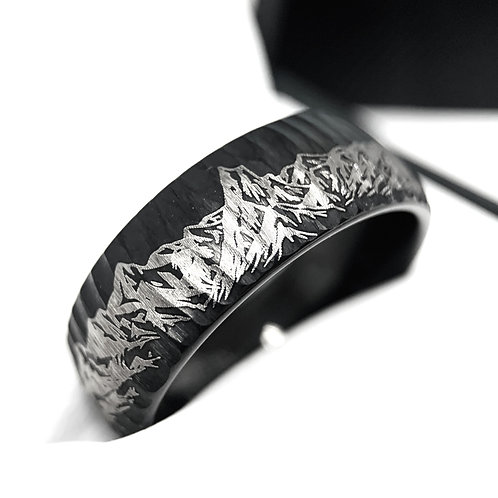 Mountains Range Pattern Engraved Black Hammered Tungsten Ring, Masculine Ring