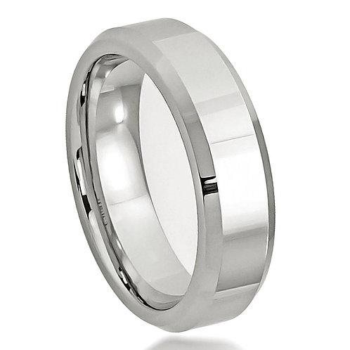 Cobalt Ring High Polished Beveled Edge 6mm