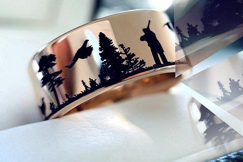 Rose Gold Mens Ring, Pheasants Hunting Scene Pattern Engraved Ring
