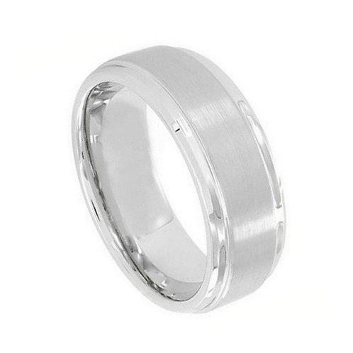 Cobalt Ring Brushed Center Polished Shiny Edge