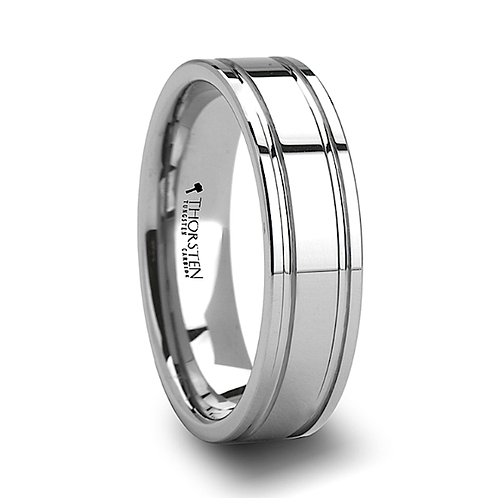 Tungsten Carbide Ring, Dual Offset Grooves 6mm-8mm