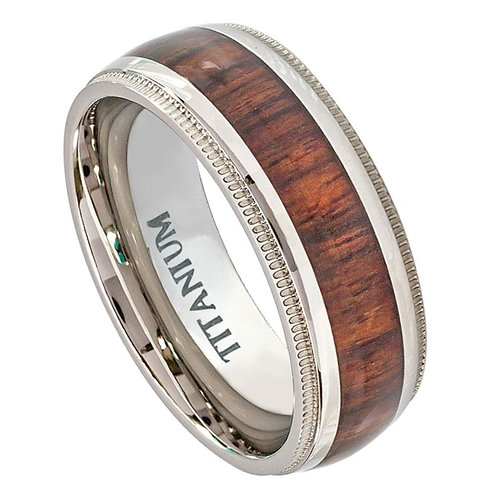Titanium Ring with Hawaiian Koa Rosewood Inlay 8mm