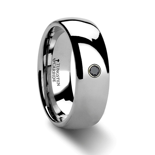 Tungsten Engagement Ring with Black Diamond - 8mm