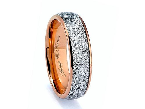 Meteorite Inlay Ring, Rose Gold Tungsten Wedding Band