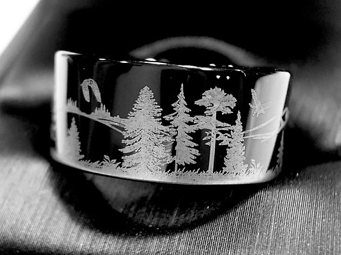 Black Wedding Band,Coyotes in Forest Mountains Pattern Engraved Tungsten Ring
