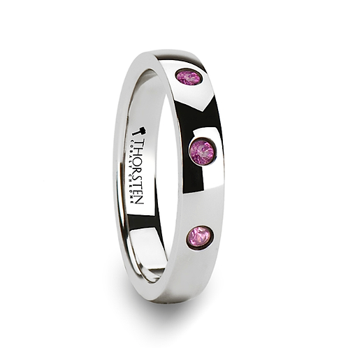 Cobalt Chrome Wedding Band with 3 Pink Sapphires