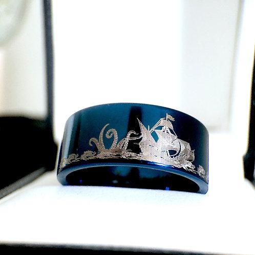 Pirate ring, blue ring, wedding bands, kraken ring, mens ring, mens wedding bands, blue ring, tungsten carbide wedding bands