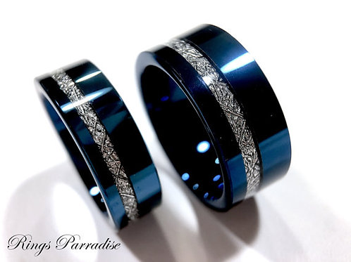 Matching Rings Set, Blue Tungsten Wedding Bands, Blue Meteorite Ring