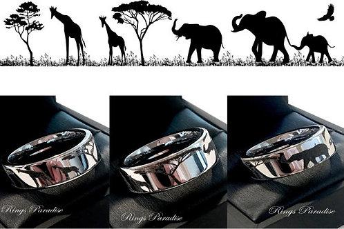 African Sahara Ring, Custom made Tungsten ring, Wedding Band and Engagement Ring