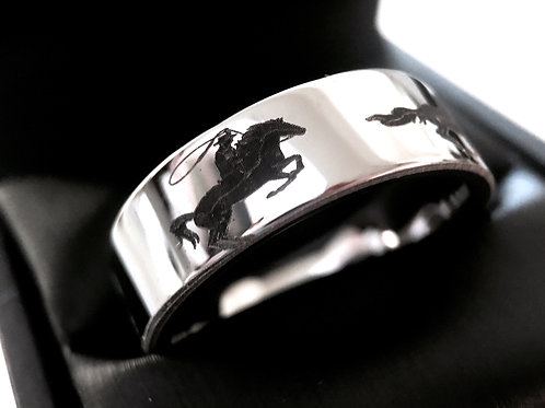 Horses Ranger Ring, Horses Jewelry, Rings, Tungsten Ring, Mens Tungsten Ring, Mens Wedding  Bands, Anniversary Ring, Promise