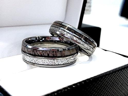Matching Rings Set, Men and Women Tungsten Bands, Antler Ring, Meteorite Ring