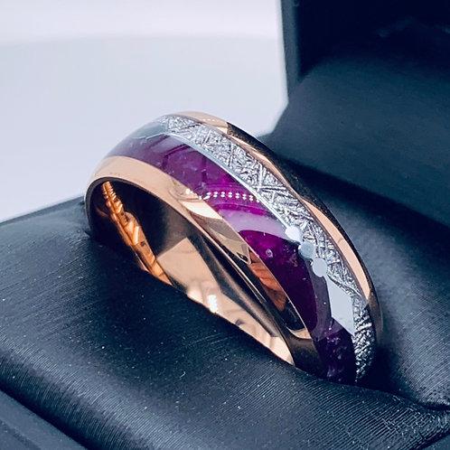 Matching Rings Set, Rose Gold Tungsten Ring, Purple Agate & Meteorite Ring - 8mm