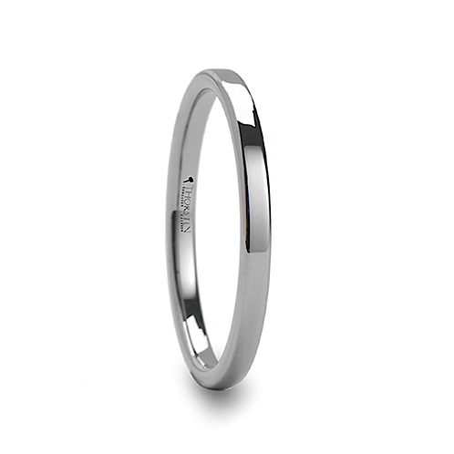 Pipe Cut Tungsten Carbide Ring for Her 2mm