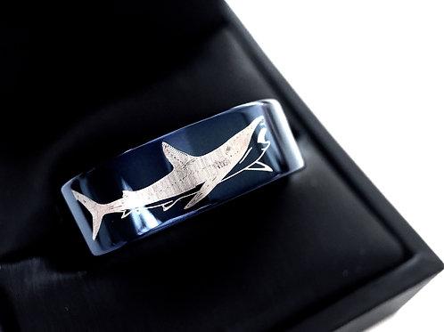 Shark Blue Tungsten Ring, Wedding Bands