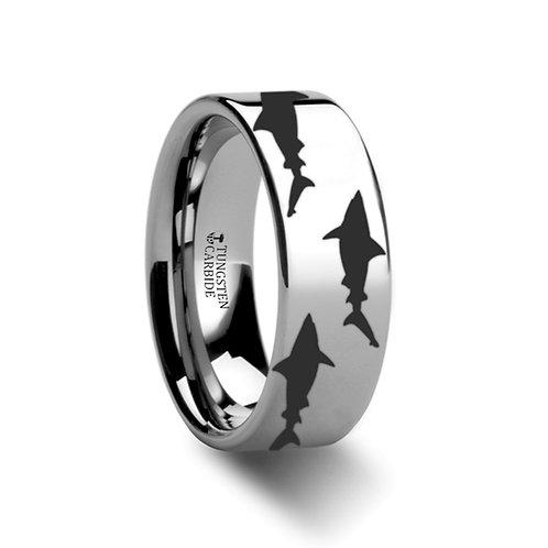Shark Predator Fish Sea, Tungsten Band