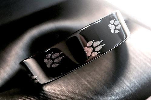 Wolf Ring, Wolf Footprint Pattern Engraved Black Tungsten Ring, Mens Ring