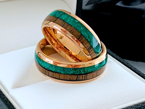 Matching Rings Sets Green Malachite Stone & Wood Rose Gold Tungsten Wedding Ring