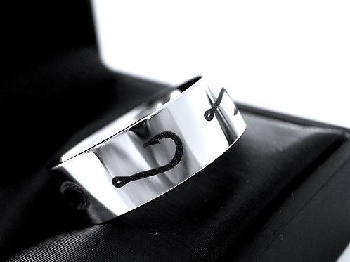 Fishing Hook Pattern Ring Engraved Tungsten Ring, Hook Ring