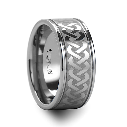 Laser Engraved Tungsten Carbide Ring Wide - 10mm