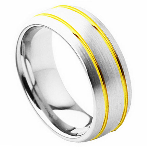 Cobalt Ring Yellow Gold Double Grooved Design 8mm