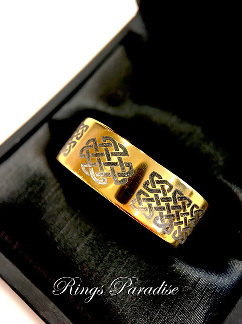 Yellow Gold Tungsten  Celtic Ring, Celtic Love  Rings, Irish Ring, Celtic