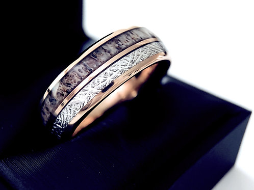 Rose Gold Meteorite & Antler Inlay Tungsten Wedding Band, Anniversary Ring 8mm
