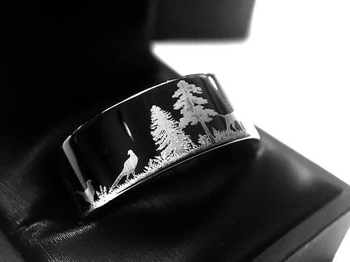 Wedding Bands, Wedding Rings, Tungsten Ring, Black Tungsten Ring, BLack Wedding Bands, Pheasants Hunting Scene Wedding Ring,