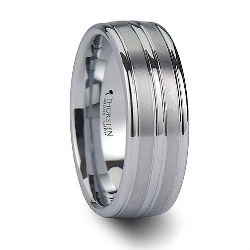 Triple Grooved White Tungsten Engagement Ring  8mm