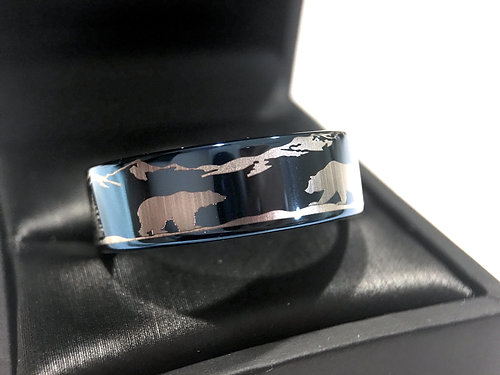 Bears In Mountain Forest Landscape Engraved Tungsten Wedding Bands Mens Ring Mountains Rings