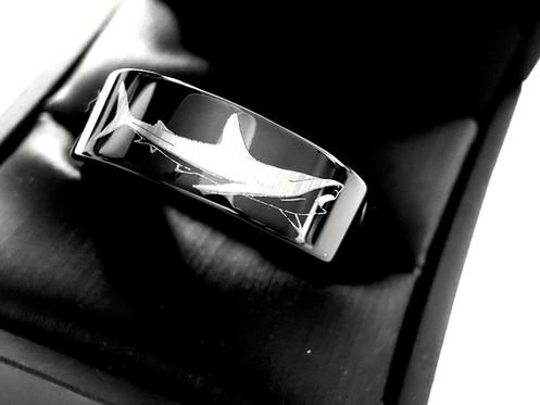 Shark Black Tungsten Ring Wedding Bands Black Tungsten Ring Mens