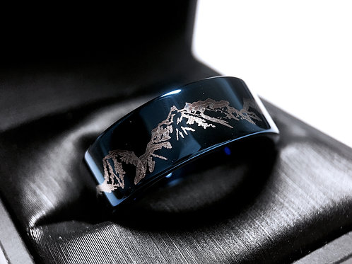 Blue Tungsten Ring, Mountains Ring, mountains Range Engraved Ring, Mens Wedding Bands, Mens Tungsten Wedding Bands, Mens Ring