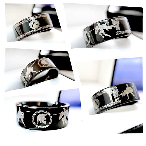 Ancient Greek Spartan Warriors Pattern Engraved Black Tungsten Ring, Mens Ring