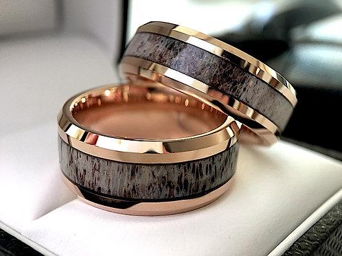 Rose Gold Tungsten Antler Inlay Ring, Real Antler Ring by Rings Paradise - 10mm