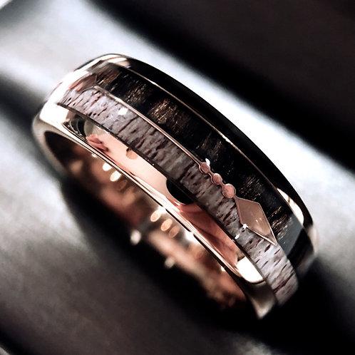 Rose Gold Antler Rings, Deer Ring, Arrow Inlay Tungsten Wedding Band