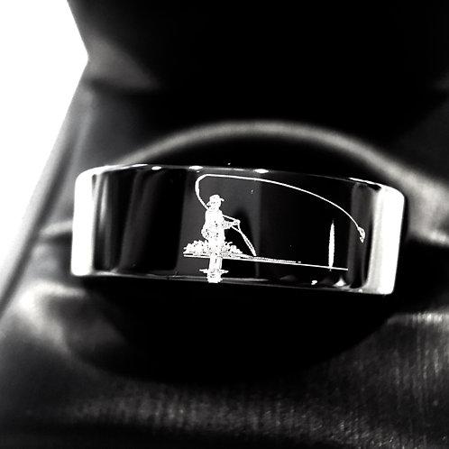 Fisherman Ring, Fishing Wedding Ring, Black Tungsten Ring, Mens Engagement Ring