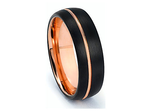 Black and Rose Gold Domed Tungsten Wedding Bands for Mens and Women