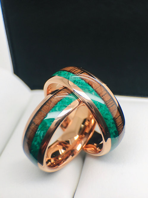 Green Malachite Stone and Wood Rose Gold Tungsten Carbide Ring, Wedding Bands