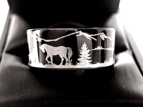Horse and Dog Facing Each Other Black Tungsten Carbide Ring by Rings Paradise