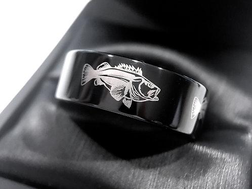 Fisherman Ring, Black Wedding Bands, Mens Black Tungsten Ring, Mens Engagement Ring, Fish Ring, Tungsten Carbide, Bass Fish