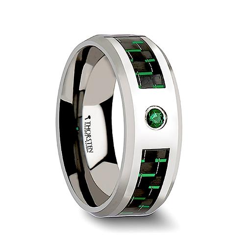 Tungsten Wedding Band with Emerald Stone- 8mm
