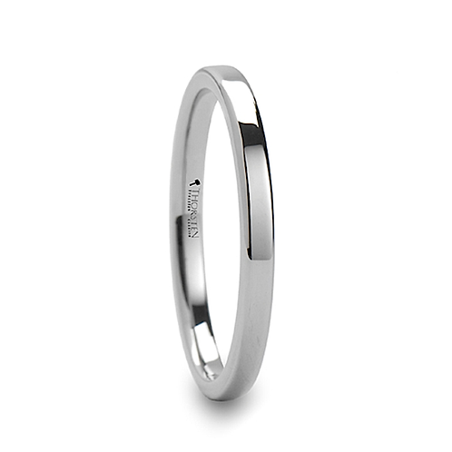Pipe Cut White Tungsten Carbide Ring - 2mm-12mm