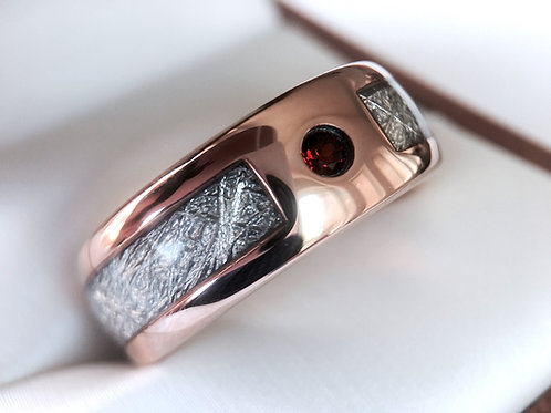 Meteorite Ring, Meteorite Inlay Rose Gold Tungsten Ring with Granet Stone Setting, His and Her Promise Rings, Anniversary Rin