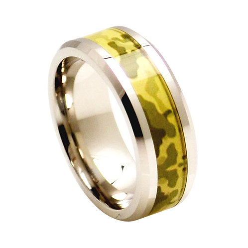 Cobalt Ring with Desert Storm Camouflage Inlay 8mm